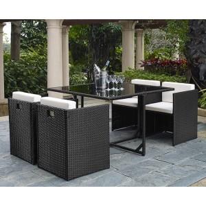 Corner - Salon de jardin résine tressée noir 1 table + 4 fauteuils