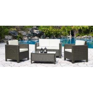 Cuba - Salon de jardin résine tressée marron clair1 table basse + 2 fauteuils + 1 canapé 2 places