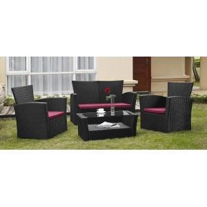 Hawai - Salon de jardin résine tressée noir 1 table + 2 fauteuils + 1 canapé