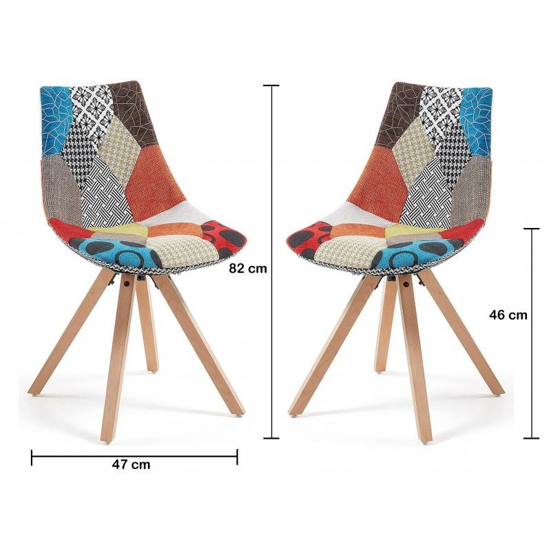 lot 2 chaises tissu pied h tre monroe chaise. Black Bedroom Furniture Sets. Home Design Ideas