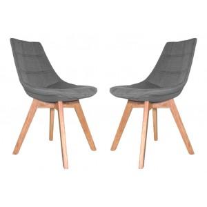 Lot 2 chaises tissu & piétement chêne – BETI