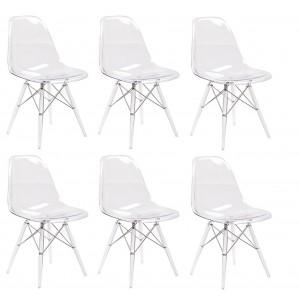 Lot 6 chaises transparentes & coussins noirs - ZIGGY