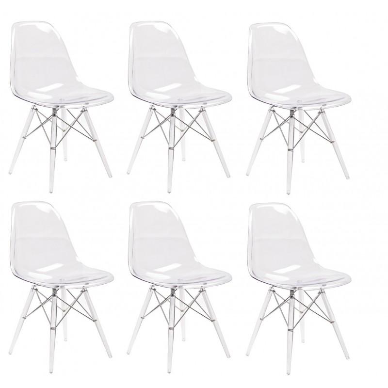 ziggy lot 4 chaises transp coussin noir chaise meubletmoi. Black Bedroom Furniture Sets. Home Design Ideas