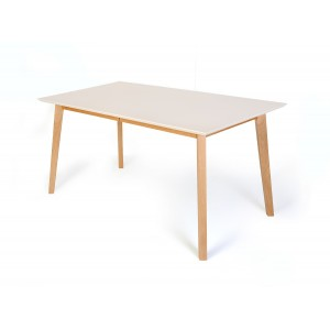 TABLE scandinave extensible blanche 140/180 cm - table à dîner rectangulaire robuste -  LOLA
