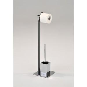 SUPPORT de papier toilette avec porte-brosse WC métal inox - DOUBLE