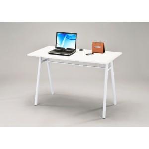 BUREAU 120 cm meuble informatique blanc table pied métal - salon et chambre - ALTHUS