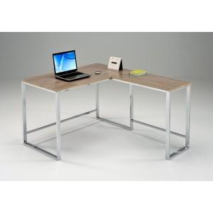 BUREAU D'ANGLE 120 cm meuble de travail informatique métal et bois - design contemporain - MARCUS