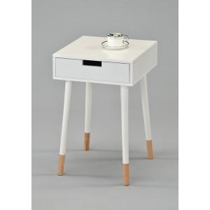 TABLE DE CHEVET scandinave bois blanc laqué  4 pieds bicolore - bout de canapé avec tiroirs - HENRI