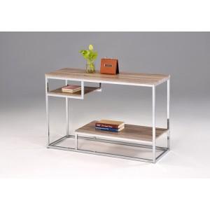 CONSOLE meuble rangement  chromé et bois chêne - MOON