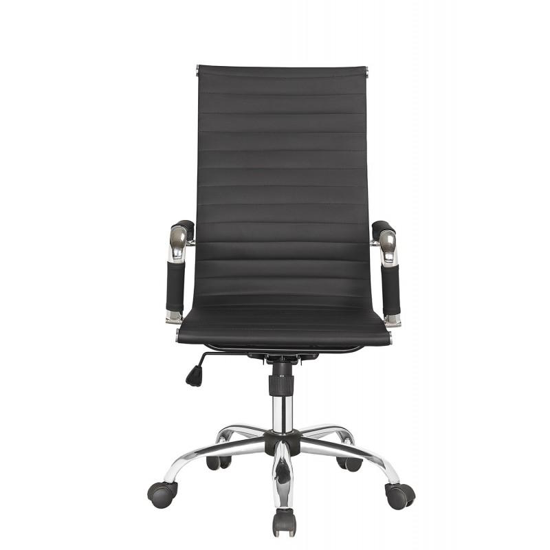 Fauteuil de bureau confortable noir et chrome - siège design moderne,épuré et élégant - CITY