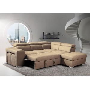 Canapé beige d'angle droit convertible - toucher doux suédine -  1 pouf avec rangement - 2 poufs - têtières mobiles - VEGAS