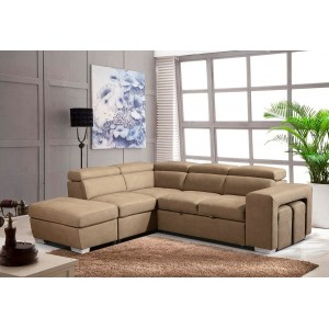 Canapé beige d'angle gauche convertible - toucher doux suédine - 1 pouf avec rangement - 2 poufs - têtières mobiles - VEGAS