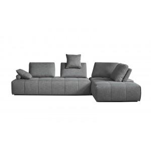 Canapé d'angle modulable gauche ou  droit tissu gris confortable - dossiers amovibles - salon lit méridienne - SUDOKU