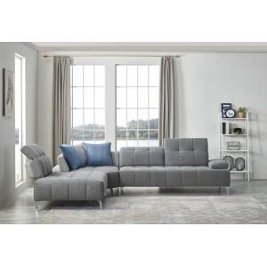 Canapé d'angle gauche tissu gris confortable - dossiers réglables - profondeur modulable - DIAMANT
