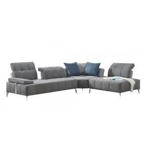Canapé d'angle droit tissu gris confortable - dossiers réglables - profondeur modulable - DIAMANT