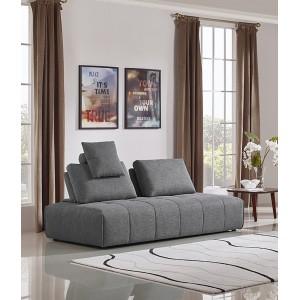 Canapé 3 places modulable tissu gris confortable - dossiers amovibles - salon méridienne - SUDOKU