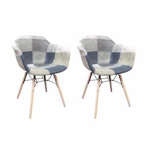 Fauteuils patchwork bleu scandinave vintage - pieds bois - doux style suedine  - LOT de 2 -  SUMMER
