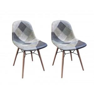 Chaises patchwork bleu scandinave vintage - doux style suedine - pieds bois - LOT de 2 -  SUMMER BLUE