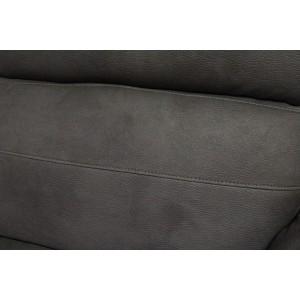 Canapé relaxation 2 places GRIS ANTHRACITE - motorisé - tissu suédine doux - ultra confortable moelleux - CLARA