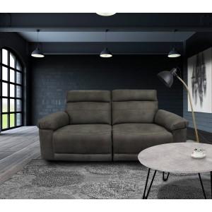 Canapé relaxation 2,5 places  GRIS ANTHRACITE - motorisé - tissu suédine doux - ultra confortable moelleux - CLARA