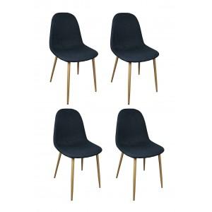 Lot 4 chaises tissu bleu...