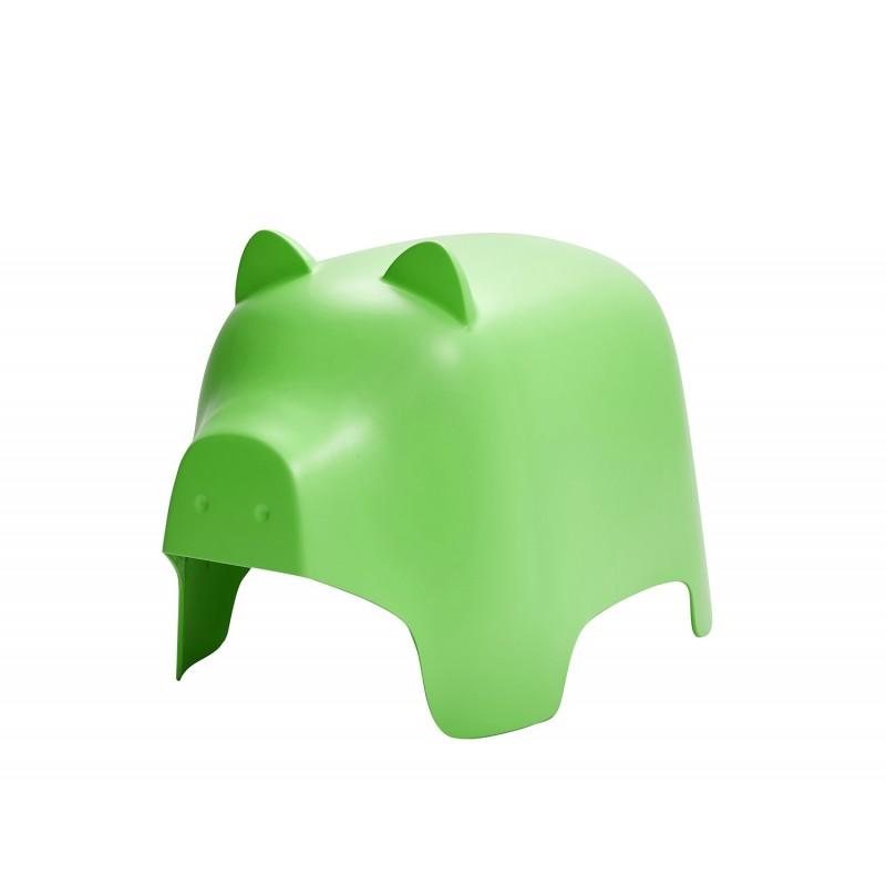Chaise enfant plastique vert stable et résistante - décoration, chambre, garderie, crêche - COCHON