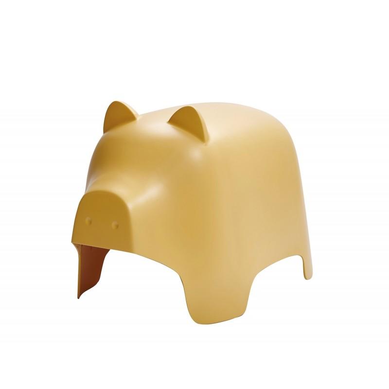 Chaise enfant plastique jaune stable et résistante - décoration, chambre, garderie, crêche - COCHON