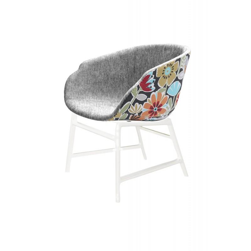 Fauteuil tissu gris et motif fleurs - assise large confortable - Structure blanche résistante - FLORUS
