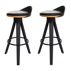 LOT de 2 Tabouret haut noir -  chaise de bar trépied polypropylène - design industriel contemporain - STOOL 01