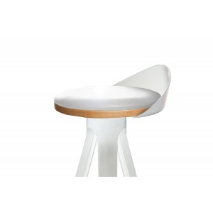 LOT de 2 Tabouret haut blanc -  chaise de bar trépied polypropylène - design industriel contemporain - STOOL 02