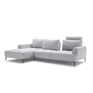Canapé d'angle gauche tissu gris clair modulable -  dossiers mobiles - ALIX