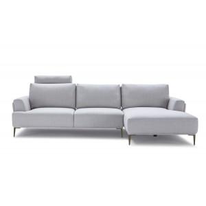 Canapé d'angle droit tissu gris clair modulable -  dossiers mobiles - ALIX
