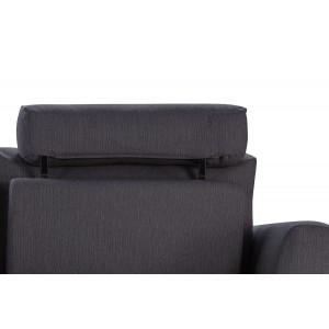 Canapé d'angle gauche tissu gris anthracite modulable -  dossiers mobiles - ALIX