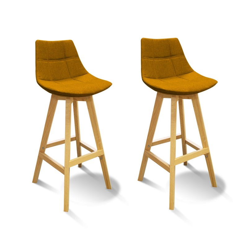 Lot 2 Tabourets De Bar Jaune Style Scandinave Wendy
