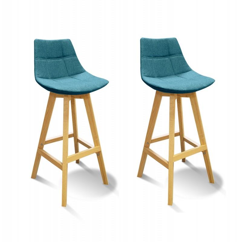 lot 2 tabourets de bar scandinave tissu bleu wendy. Black Bedroom Furniture Sets. Home Design Ideas