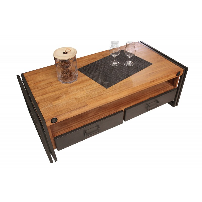 Table basse style industriel 2 tiroirs et niche - WORKSHOP