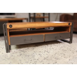 Table basse style industriel - bois massif acacia et métal - 2 tiroirs et niche de rangement - WORKSHOP
