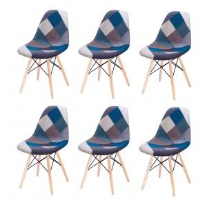 Lot 6 chaises Patchwork Bleu tissu & bois de hêtre - RETRO