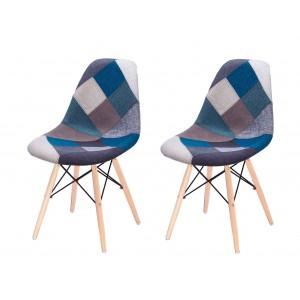 Lot 2 chaises Patchwork Bleu tissu & bois de hêtre - RETRO