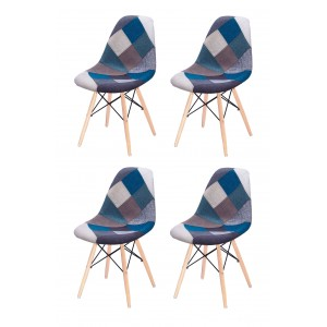 Lot 4 chaises Patchwork Bleu tissu & bois de hêtre - RETRO