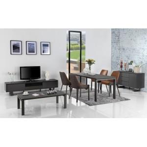 Meuble TV gris anthracite en bois,  céramique et pieds métal - CERAMIK