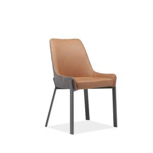 Chaise marron/brun bicolore en simili et piétement en métal  - CERAMIK