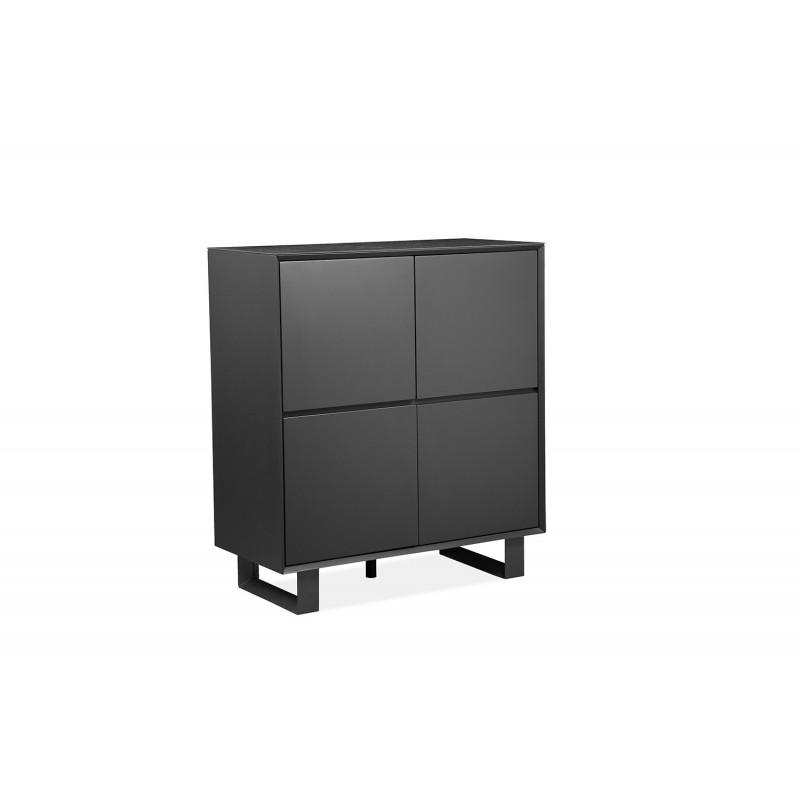 Armoirette meuble de rangement  gris anthracite en bois, céramique et pieds métal - CERAMIK