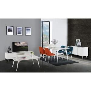 Table 160 cm  blanche rectangulaire bois - pieds métal vintage - SNOW
