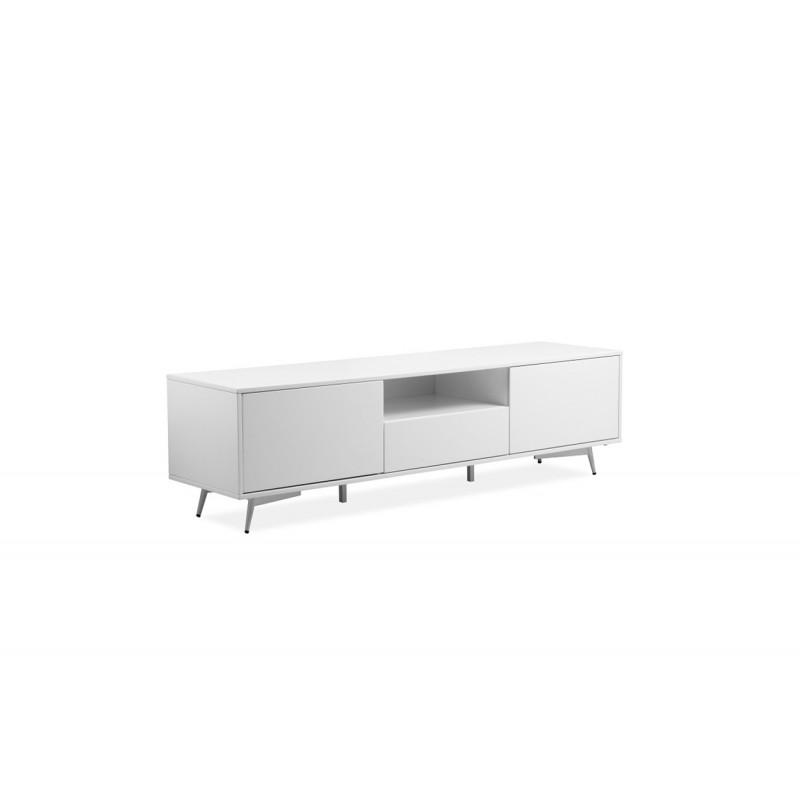 c5371c3ca4363e meuble TV en bois laqué blanc 2 portes 1 tiroir - pieds métal vintage - SNOW