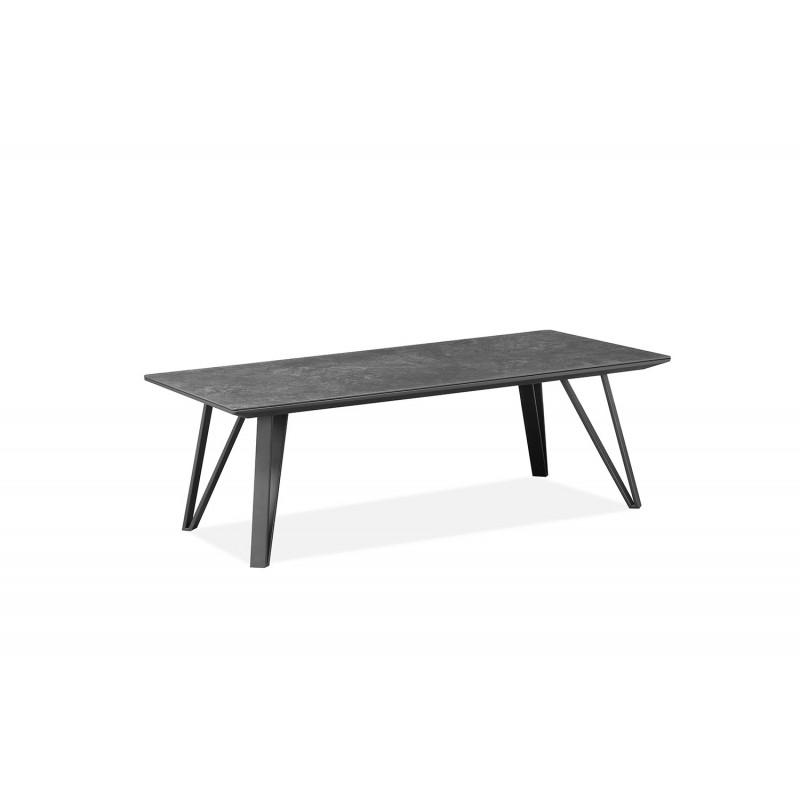 Table basse gris anthracite rectangulaire céramique et pieds métal - ONYX