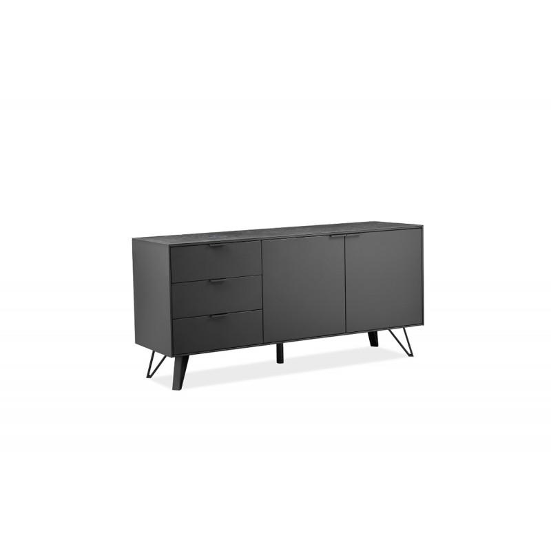 Buffet 2 portes 3 tiroirs en bois gris anthracite plateau céramique et pieds métal - ONYX