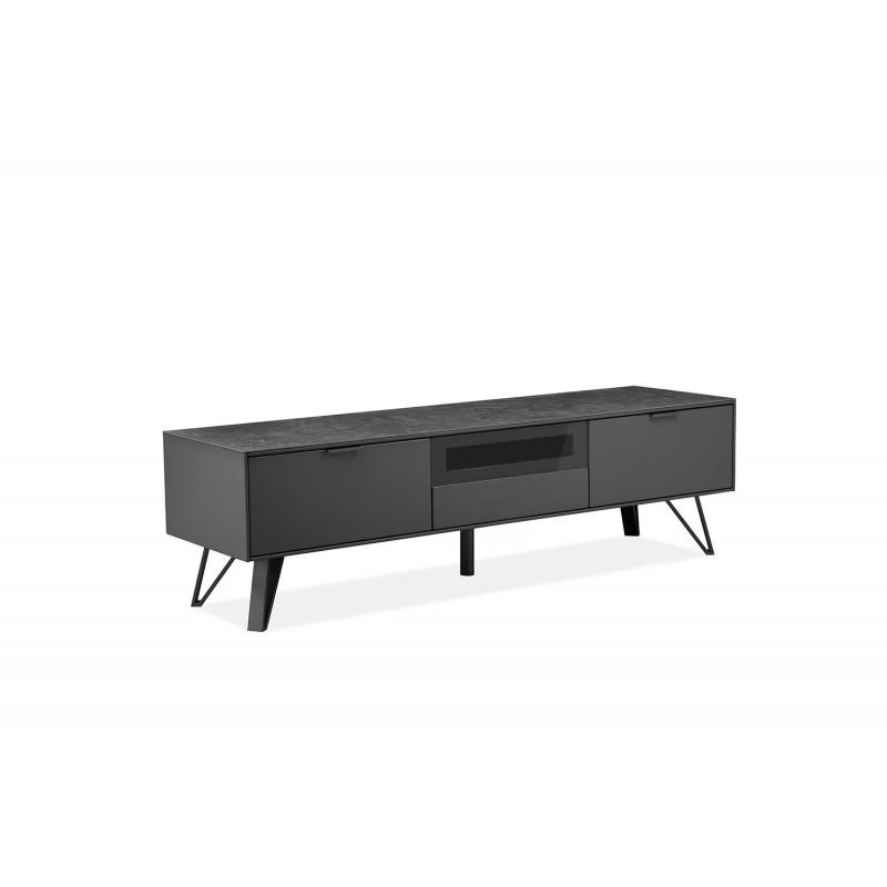 design intemporel 1be23 8743e Meuble TV gris anthracite bois, céramique et pied métal - ONYX