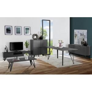 Meuble TV 2 portes gris anthracite bois, céramique et pied métal - ONYX