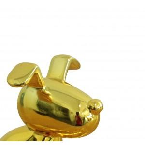 sculpture petit chien laqué jaune - YELLOW DOG